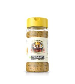 Clear bottle with yellow powder of Flavor God Cheese Flavour Seasoning shown in white background