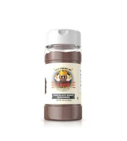 Clear bottle with dark brown powder of Flavor God Chocolate Donut Seasoning shown in white background