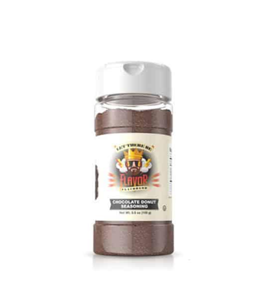 Clear bottle with dark brown powder of Flavor God Chocolate Donut Seasoning shown in white background