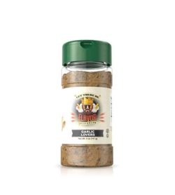 Clear bottle with brown powder of Flavor God Garlic Lovers Seasoning shown in white background