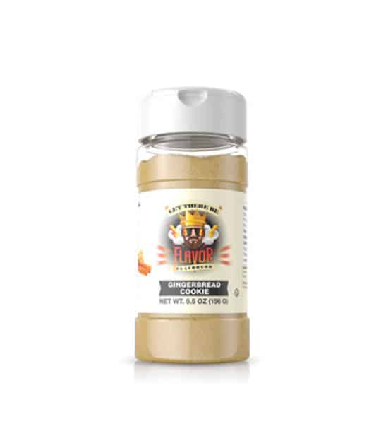 Clear bottle with light brown powder of Flavor God Gingerbread Cookie Seasoning shown in white background