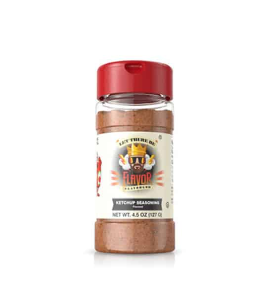 Clear bottle with red powder of Flavor God Ketchup Seasoning shown in white background