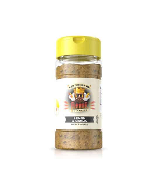 Clear bottle with brown powder of Flavor God Lemon Garlic Seasoning shown in white background
