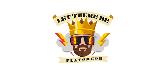 flavor god logo king wearing sunglasses with lightning bolts let there be flavorgod