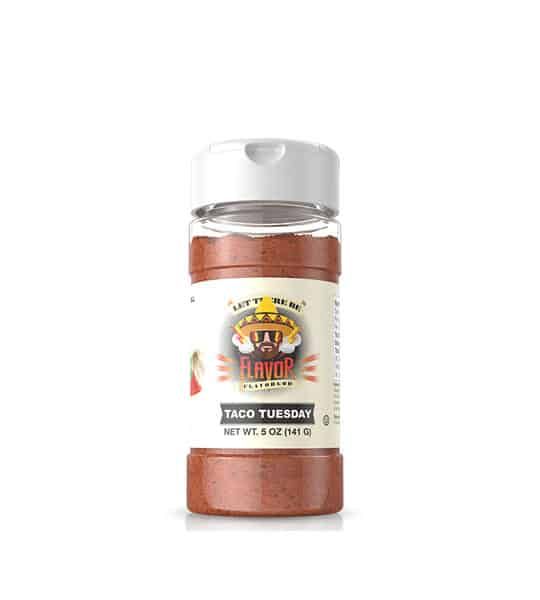 Clear bottle with brown powder of Flavor God Taco Tuesday contains net wt. 5 oz (141 g)