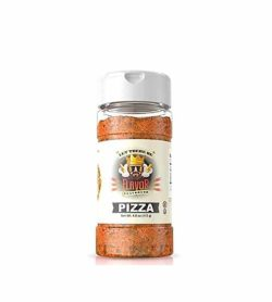 Clear bottle with brown powder of Flavor God Pizza contains net wt. 4 oz (113 g)