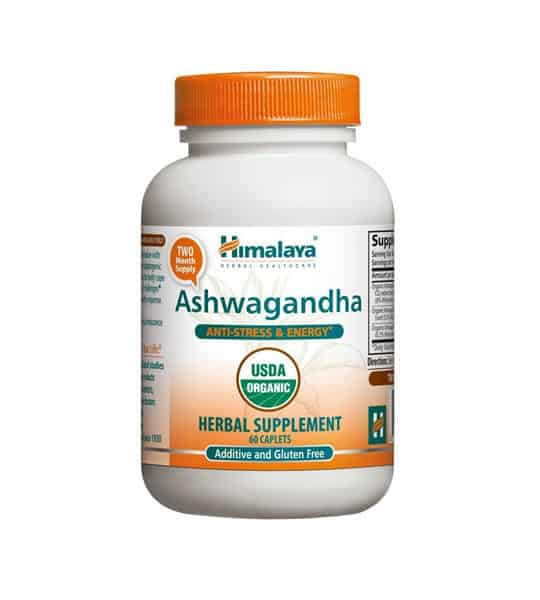 White and orange bottle with orange cap of Himalaya Ashwagandha Anti-Stress & Energy* contains 60 caplets