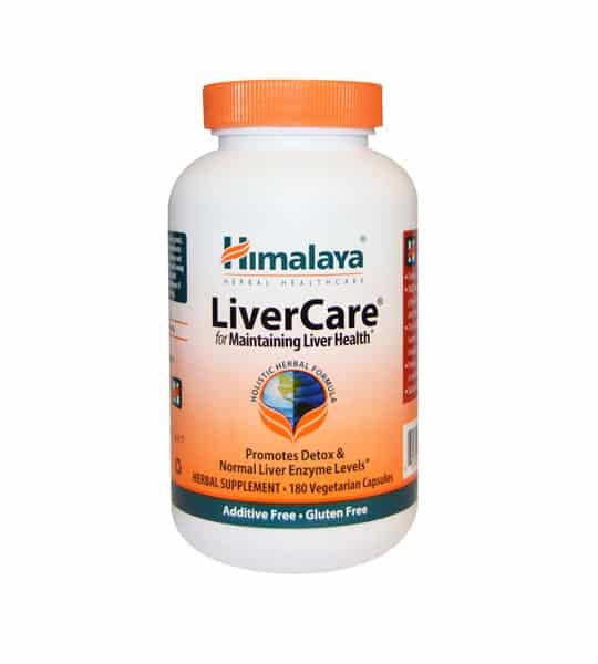 White and orange bottle with orange cap of Himalaya LiverCare for Maintaining Liver Health* contains 180 vegetarian capsules