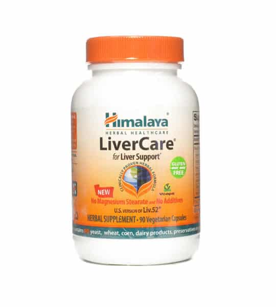 White and orange bottle with orange cap of Himalaya LiverCare for Liver Support* contains 90 vegetarian capsules