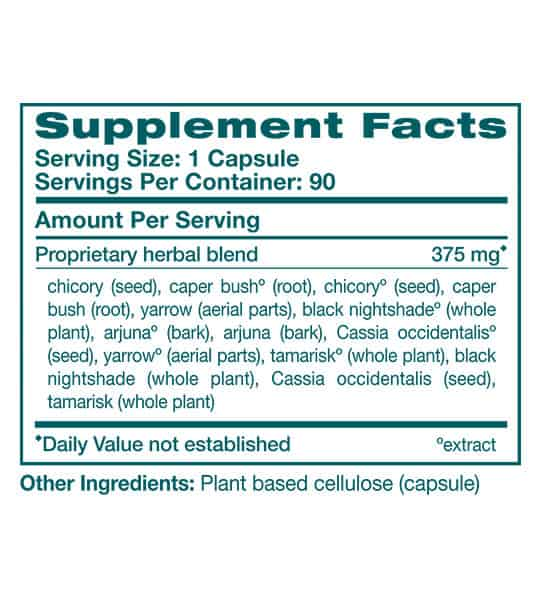 Supplement facts and ingredients panel of Himalaya Livercare for serving size of 1 capsule with 90 servings per container