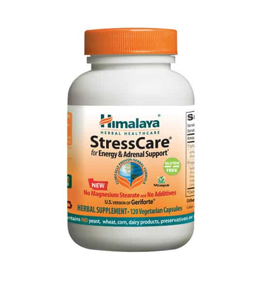 White and orange bottle with orange cap of Himalaya StressCare for Energy & Adrenal Support* contains 120 vegetarian capsules