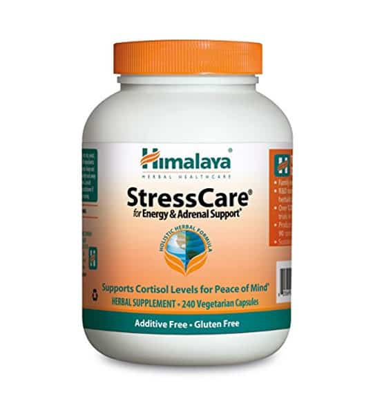 White and orange bottle with orange cap of Himalaya StressCare for Energy & Adrenal Support* contains 240 vegetarian capsules