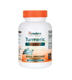 White and orange bottle with orange cap of Himalaya Pure Herbs Turmeric Antioxidant & Joint Support* contains 60 vegetarian capsules