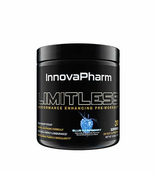 Black container with black lid of InnovaPharm Limitless Performance Enhancing Pre-workout with Blue Raspberry flavour