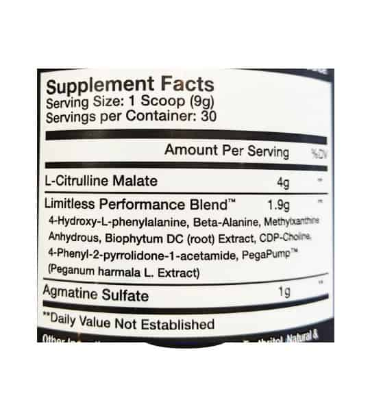 Supplement facts panel of Innovapharm Limitless Pre-workout for serving size of 1 scoop (9 g) with 30 servings per container