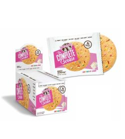 Pink and white box of Lenny And Larry The Complete Cookie with Birthday Cake flavour with one pouch open