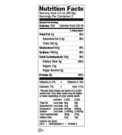 Nutrition facts panel of Lenny And Larry The Complete Cookie Birthday cake Box for serving size of 2.0 oz (56.5 g)