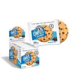 Blue and white box of Lenny And Larry The Complete Cookie with Chocolate Chip flavour with one pouch open