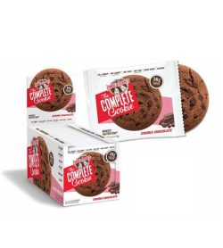Red and white box of Lenny And Larry The Complete Cookie with Double Chocolate flavour with one pouch open