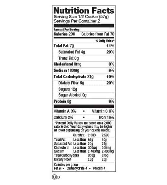 Nutrition facts panel of Lenny And Larry The Complete Cookie Double Chocolate Box for serving size of 1/2 cookie (57 g)