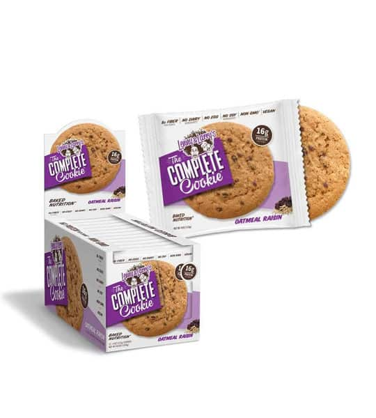 Purple and white box of Lenny And Larry The Complete Cookie with Oatmeal Raisin flavour with one pouch open