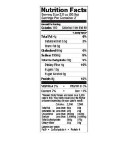 Nutrition facts panel of Lenny And Larry The Complete Cookie Oatmeal raisin Box for serving size of 2.0 oz (56.4 g)