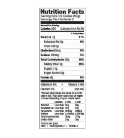 Nutrition facts panel of Lenny And Larry The Complete Cookie Snicker doodle Box for serving size of 1/2 cookie (57 g)