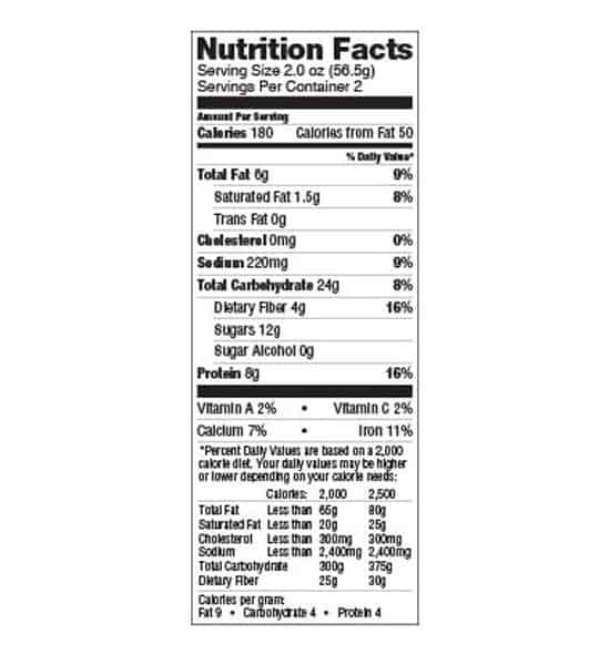 Nutrition facts panel of Lenny And Larry The Complete Cookie White Chocolate Macadamia Box for serving size of 2.0 oz (56.5 g)