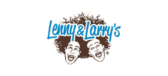 lenny and larrys protein cokie logo blue cursive font lenny & larry's with two faces with open mouth and lots of hair in brown white background