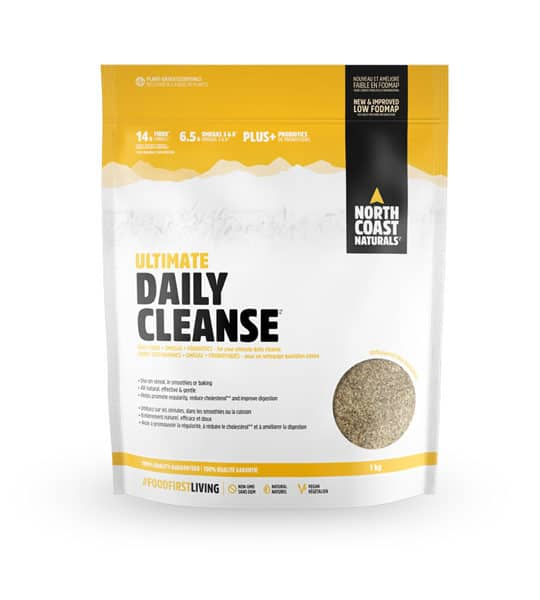 White and yellow pouch of North Coast Naturals Ultimate Daily Cleanse contains 1 kg shown in white background
