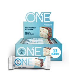 A white and blue box of one brand one bar box 20G PROTEIN. 1G SUGAR.