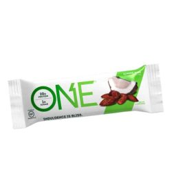 One white and green pouch of One Protein Bar with Almond Bliss flavour shown in white background