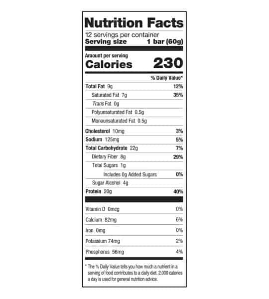 Nutrition facts panel of One Protein Bar Box Almond Bliss for serving size of 1 bar (60 g) with 12 servings per container
