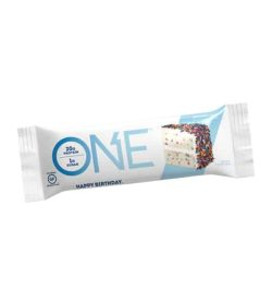 White and blue pouch of One Protein Bar Box Birthday Cake contains 20 g protein and 1 g sugar