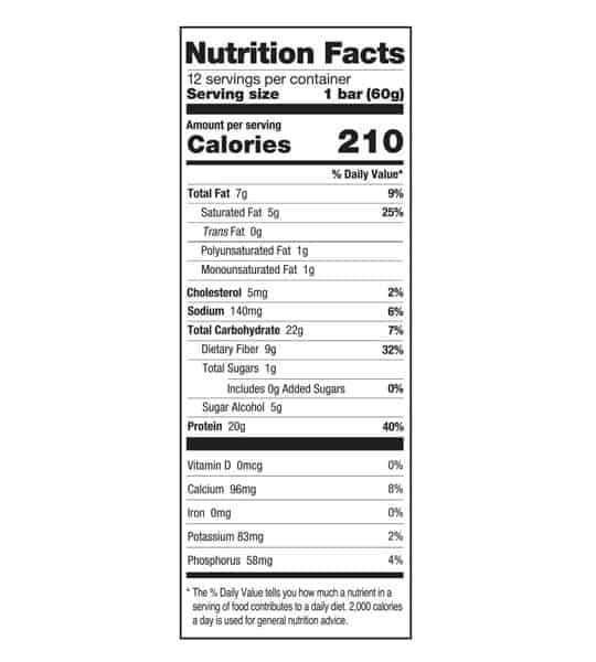 Nutrition facts panel of One Protein Bar Box Birthday Cake for serving size of 1 bar (60 g) with 12 servings per container