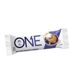 One white and purple pouch of One Protein Bar with Blueberries and Cobbler flavour shown in white background