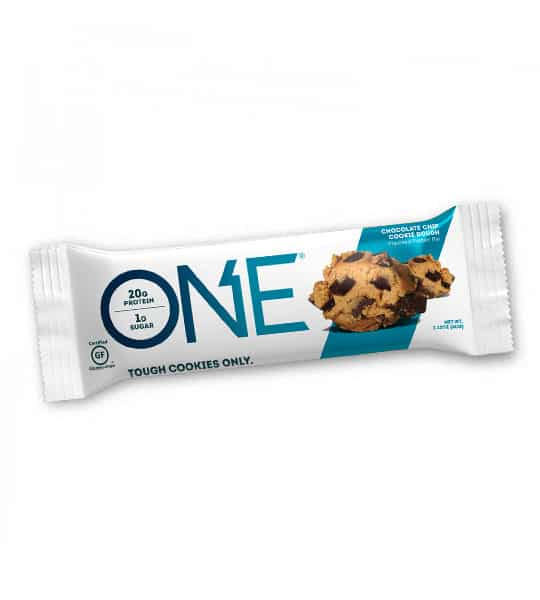 One white and teal pouch of One Tough Cookies only with Chocolate Chip Cookie Dough flavour contains 20 g protein