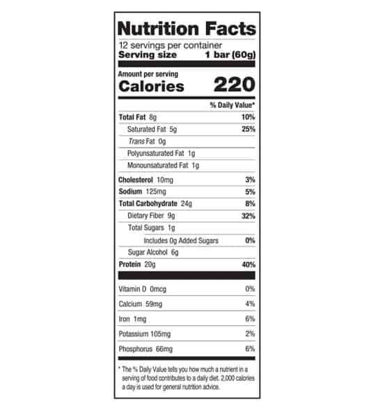Nutrition facts panel of One Protein Bar Box Chocolate Chip Cookie Dough for serving size of 1 bar (60 g) with 12 servings per container