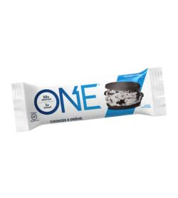 White and blue pouch of One Protein Bar Box Cookies and Creme contains 20 g protein and 1 g sugar