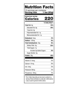 Nutrition facts panel of One Protein Bar Box Cookies and Creme for serving size of 1 bar (60 g) with 12 servings per container