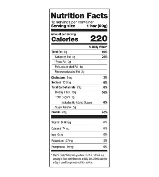 Nutrition facts panel of One Protein Bar Box Peanut Butter for serving size of 1 bar (60 g) with 12 servings per container