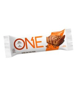 White and orange pouch of One Protein Bar Box Peanut butter pie contains 20 g protein and 1 g sugar