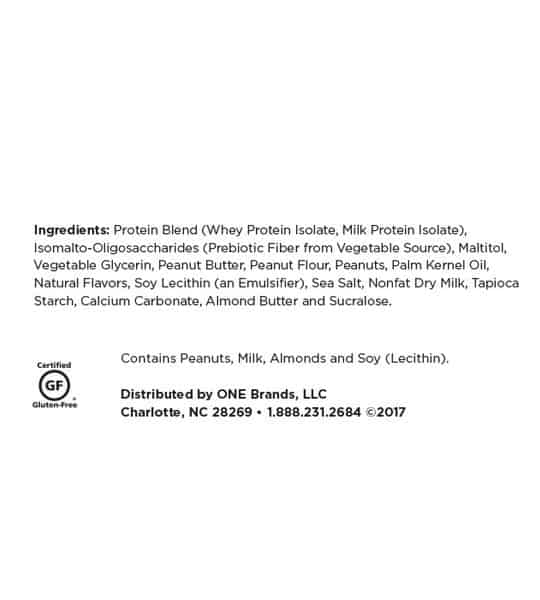 Ingredients panel of One Protein Bar Box Peanut Butter Pie shown in black text in white background