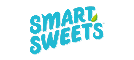 smart sweets logo bubble letters with lime