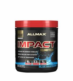 Black and blue container with red li of Allmax Impact Igniter with Blue Raspberry flavour Pre-Workout dietary supplement