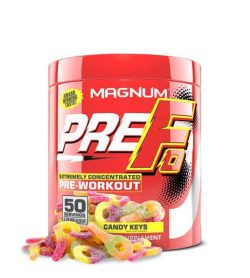 Shiny red container with red lid of Magnum PreFo Extremely Concentrated Pre-Workout with Candy Keys flavour contains 50 servings