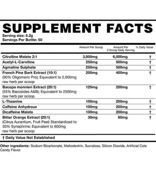 Supplement facts and ingredients panel of Magnum Pre4 for serving size of 5.2 g with 50 servings per bottle
