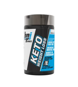 Black and blue bottle of BPI Sports Keto Weight Loss contains 75 capsules