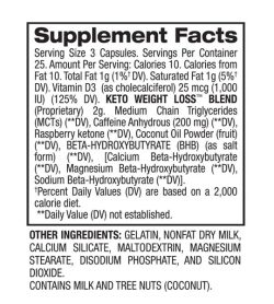 Supplement facts and ingredients panel of BPI Sports Keto Weight Loss for a serving size of 3 capsules
