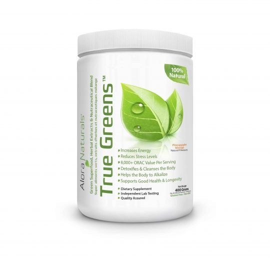 White container with white lid of Alora Naturals 100% naturals True Greens dietary supplement contains 400 g